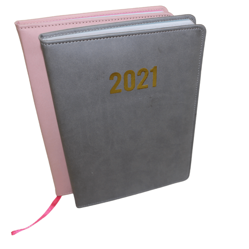 golden hot stamping A5 size diary 2021 planner for trip business pu notebooks1