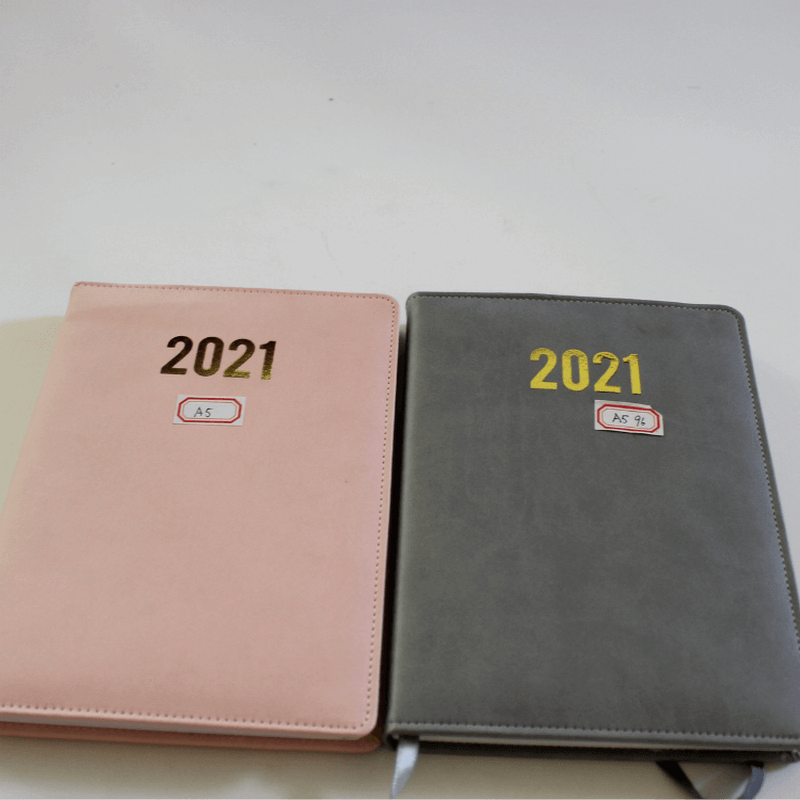 golden hot stamping A5 size diary 2021 planner for trip business pu notebooks7