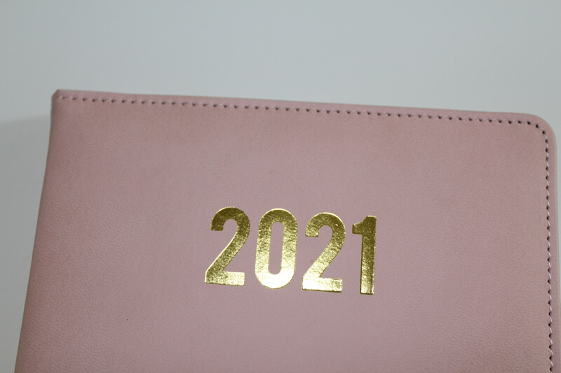 golden hot stamping A5 size diary 2021 planner for trip business pu notebooks9